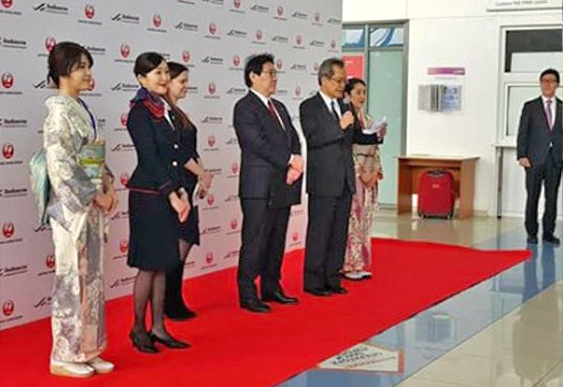 成田国際空港で行われた就航記念式典のようす