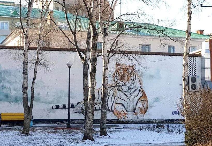 アムール虎の壁画