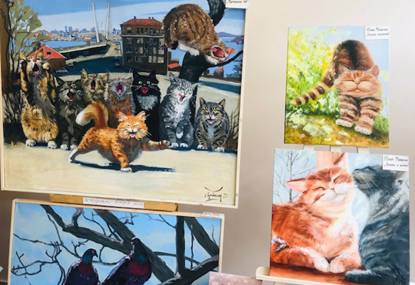 グム百貨店で展示販売されている猫の絵1