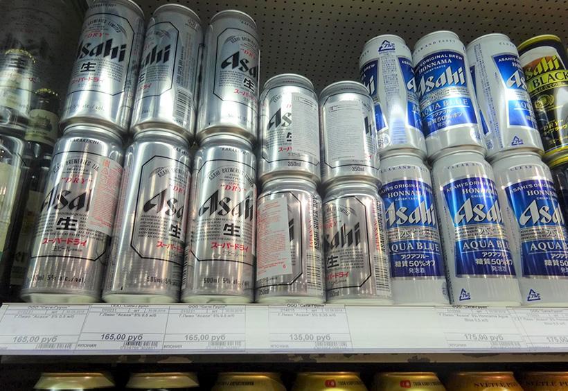 棚に並ぶアサヒビール
