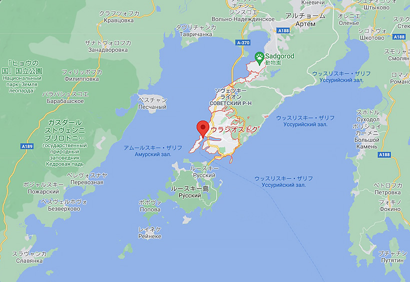 ウラジオストク周辺の地図