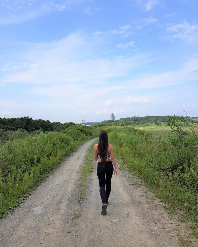 国境の合流点まで歩く