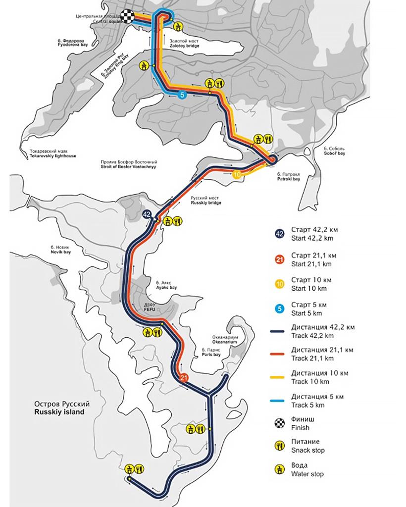 ウラジオストク国際マラソンコースマップ